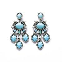 Fashion flower gem clip earrings for women statement earrings