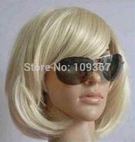 Fashion short blonde straight Women's wigy Wig Natural Kanekalon Fiber no lace Hair full Wigs