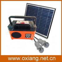 10w solar panel 12V/7Ah capacity mini solar power radio with led light kits