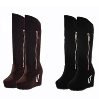 2014 Hot new European and American fashion winter boots Knight turned mouth suede knee boots women's boots Leopard Zipper