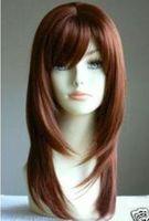 Stylish Long red Straight Cosplay hair wig Natural Kanekalon Fiber no lace Hair full Wigs