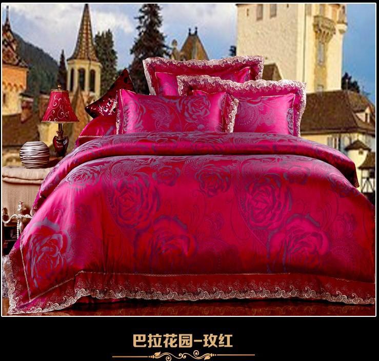 luxo do laço rosa-choque cetim jacquard jogo do fundamento rei edredom queen size tampa colcha cama de folha de texile colcha(China (Mainland))