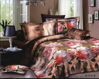 brown white pink green flowers rose  Cotton queen size Duvet / Quilt Cover Bedding sets sheet pillowcase