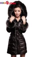 Free shipping  genuine leather sheepskin with fox fur hood coat 2014 latest fashion women  long down overcoat Christmas gift