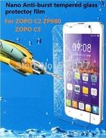 For zopo c2 zp980 screen protector film NANO Anti-burst tempered glass protection film for zopo c3 zp 980 Explosion-proof film