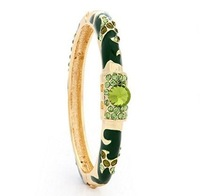 F08915 JMT 1 Piece National Design CZ Diamond Enamel Craft Cloisonn Bracelets Wristband Bangle (Green 66E-1891) freeshipping
