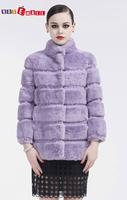 2014 latest women winter100% natural Rex Rabbit fur coat fashion mandarin collar middle-long overcoat free shipping