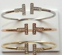 Free Shipping 18k gold  brand fashion T letter  Open Bangle now hot women bracelet bangle jewelry