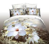 white green gray flowers rose Magnolia Cotton queen size Duvet / Quilt Cover Bedding sets sheet pillowcase