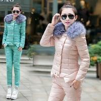 2015 Winter Coat Women Parka Sets Slim Winter Jacket Women Down 2 piece set Set Warming Fur collar Coat Free Shipping A179-90