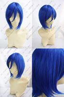 Short Blue Cosplay Party Wig Natural Kanekalon Fiber no lace Hair full Wigs