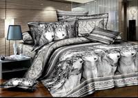 white gray purple  animal horse lion leopard tiger Cotton queen size Duvet / Quilt Cover Bedding sets sheet pillowcase