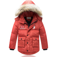 Free shipping Brand Children Baby Boys Kids Large Fur Collar Hooded Down Jackets Fashion Thickening Warm Parkas Coats Outerwear