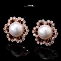 ZSE015 2014 New Luxury AAA Cubic Zirconia Flowers Pearl Stud Earrings for Women fashion Jewelry  bijoux POXE boucle d'oreille