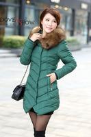 Women's hooded cotton-padded jacket winter medium-long down cotton coat plus size jacket female slim ladies jackets and coats