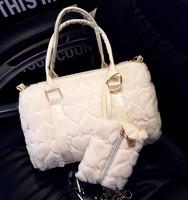 2014 New Arrivel Winter Fashion Fur Women Handbag High Quality Women Bucket Bag Purse Shoulder Bag For Grils  Free Shipping