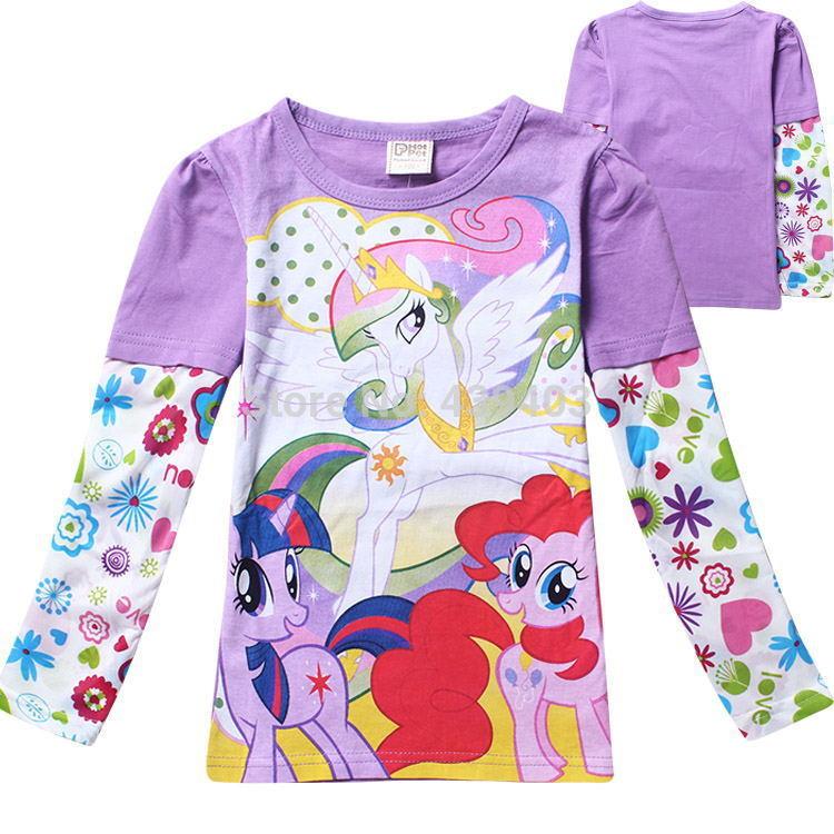 New popular my little pony 3-9Y children clothing girls long sleeved t shirt, kids tees baby girls princess tops t shirts(China (Mainland))