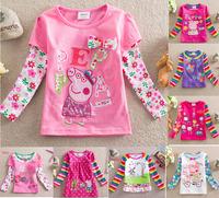 Peppa pig clothing kids tops baby girls &boy t shirts long-sleeved children t shirt casual girls cartoon pepa pig wear