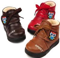 2014 baby girls winter snow boots waterproof owls pattern  Foot length 14.5 ~ 16.5cm