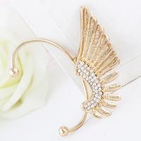 New Design Fashion Punk Ear Clip Earrings Full Crystal Angel Wings Cuff Earrings Women SE656