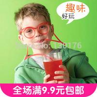 The full 9.9 yuan fashion cartoon crazy DIY Straw taste funny glasses Straw