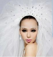 Free shipping !Very shine  Wedding Veil ,multilayer Veil white with diamond 2.85*1.4m,Wedding Accessory