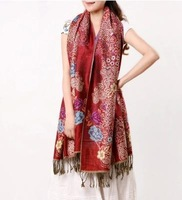 LingYangZaoAn  female    Double jacquard scarf fringed long process     wh305