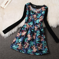 S-XL  Europe America size women's autumn New 2014 Hitz temperament women's flower print long sleeve dress tutu dress #XU091