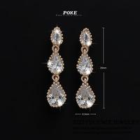 ZSE029  Wholesale 2014 New Designer AAA Cubic Zirconia Waterdrop Stud Earrings Women Jewelry  bijoux POXE boucle d'oreille