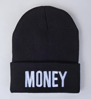 MONEY Beanies hats in black white / gold hiphop men women classics embroidery beanies caps bboy sports Skullies Freeshipping