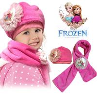 20PCS New arrival Frozen Scarf Hat set Frozen Elsa Anna princess winter children  hat and scarf