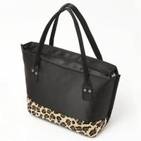 2014 free shipping Wholesale Retail black satin women handbag fashion Leopard fur women shoulder bags