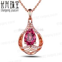 1.32ct Pink Pear Cut Tourmaline Diamond Real 14k Gold Sweet Engagement Pendant
