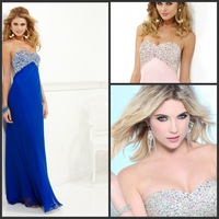 Free shipping Sweetheart A Line Floor Length Beaded Crystal Chiffion GEvening Dress