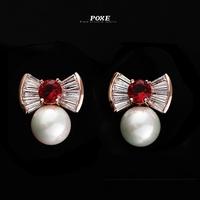 ZSE013  Wholesale 2014 New AAA Cubic Zirconia Bowknot Pearl Stud Earrings for Women Jewelry  bijoux POXE boucle d'oreille