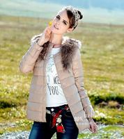 E-Unique New 2014 Autumn Winter Duck Down Jacket Women Warm Luxury Fur Coat Medium-Long Slim Casual Down Coats WWB37