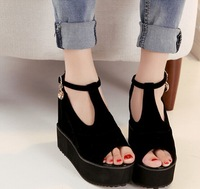 Sweet high-top shoes, fish head slope with heavy-bottomed platform shoes black high-heeled Roman word buckle shoes
