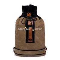 2014 new men bucket backpack Korean hit color drawstring bag canvas shoulder bags tide