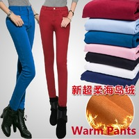 women casual winter snow warm pants high waist skinny jeans elastic pencil pants trousers
