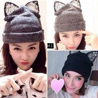 new  brand cat hat winter hats for women free shipping skullies bonnet woman gorro thermal fleece balaclava