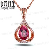 1.26ct Pink Pear Cut Tourmaline Diamond Real 14k Gold Beautiful Engagement Pendant