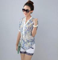 New 2014 spring auturn plus size women floral printed Loose V neck shirts women's chiffon shirt casual women blouse blusas