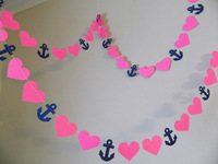 12 Feets Paper Anchors and Heart Garland / Navy and Hot Pink/Nautical Bridal Shower Decor /Photo Prop your color choice
