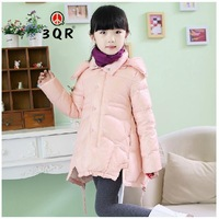 New 2014 Winter Children Baby Girls Kids Long Design Thick Warm Hooded Down Jackets Fashion Parkas Coats Outerwear Size 110-150