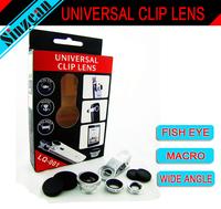 original LIEQI Universal  Lens Clip 3-in-1 Fish eye+Wide Angle+Macro  for iPhone Samsung Galaxy S5 S4 i9600 N9000 iPad