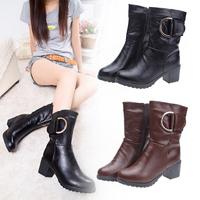 2015 women soft pu leather botas femininas brown black Mid-calf faux fur boots belt buckle zipper botines mujer size 35-39