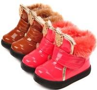 2014 baby girls winter snow boots metal leopard head  Foot length 14.5 ~ 17cm
