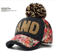 Pompon ball plush baseball hat in winter hats  tide female fashion warm cap