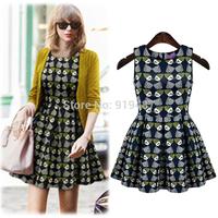 New Fashion Europe 2014 autumn/spring casual dress O-neck women vestidos 7455 Free Shipping