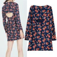 2014 Women's Retro Bohemia Paisley Floral Print Hollow Out Back O-Neck Long Sleeve Long blouses Slim Short Dresses Tops